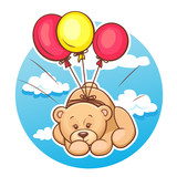 teddy bear flies on balloons