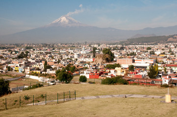 Popocatepetl volcano seen from Cholula (Mexico)