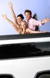 Young people having fun in limousine