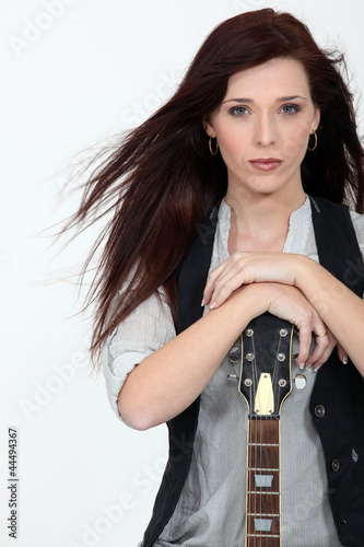 Cool woman with a guitar