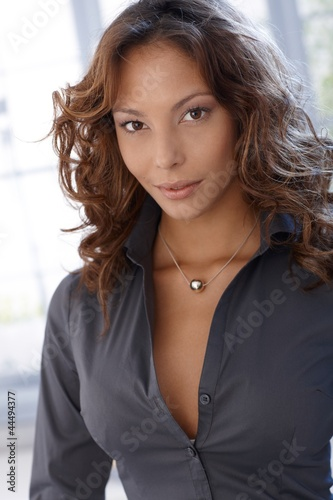 Portrait of attractive ethnic female