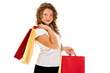 Young woman holding shopping bags isolated on white background