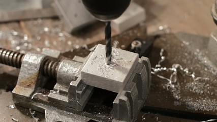 Drilling into a piece of metal