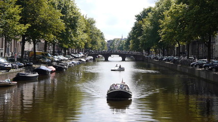 Amsterdam canal with bridge and boats