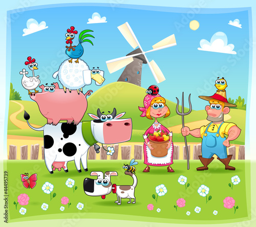Sticker Funny farm family. Cartoon and vector illustration.