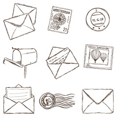 Illustration of mailing icons - sketch style