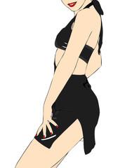 Donna sexy in abito nero