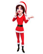 santa girl isolated in white background