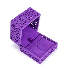 Open violet velvet gift box