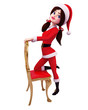 santa girl's good pose with chair