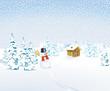 Winterlandschaft mit Schneemann und Berghütte