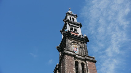 Amsterdam Wester Church tower timelapse