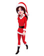 santa girl is walking on the blank background