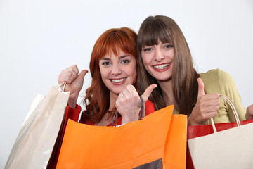 two girlfriends shopping together