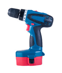 Battery screwdriver or drill isolated