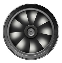 Turbine, turbocharger on white background