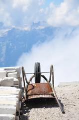 Schubkarre im Gebirge