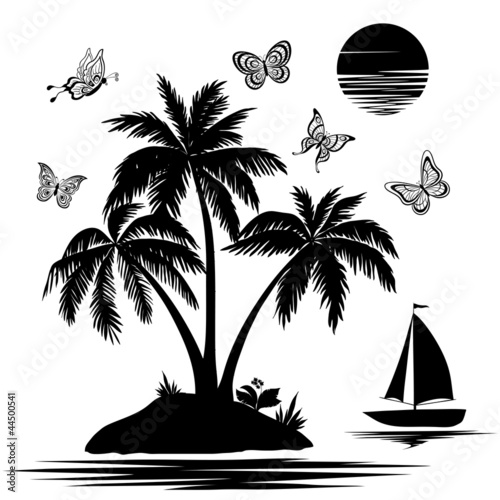 Island with palm, ship, butterflies, silhouettes