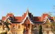 Buddhist temple and blue sky, Phra Thard Luang, Vientiane, Laos