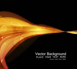 abstract shiny golden technology colorful wave black background