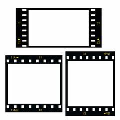 Set  blank film strip isolated on white background
