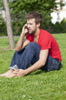young man being concerned on the phone