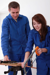 Experienced tradesman training his new apprentice