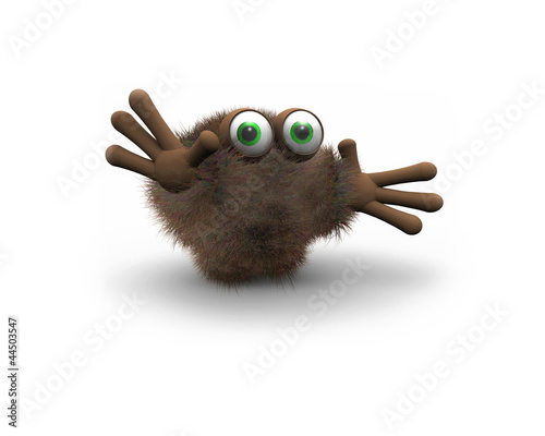 Brown furry puppet with green eyes isolated on white background