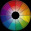 roue chromatique sur fond noir