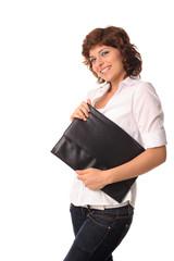 Junge Frau mit Dokumententasche