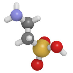 Taurine molecule, chemical structure