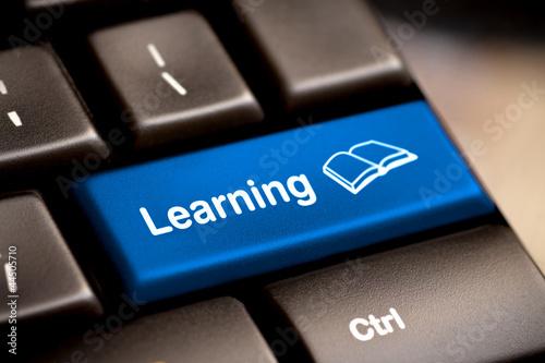 Leinwanddruck Bild e-Learning Concept. Computer Keyboard