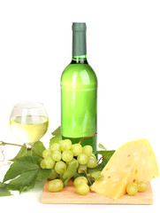 Bottle of great wine with wineglass and cheese isolated on