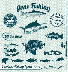 Vector Set: Gone Fishing Labels and Badges