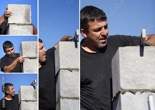 experienced man making a wall