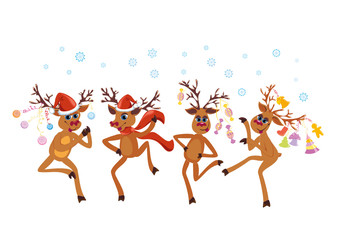 Christmas greeting card whit dancing Reindeers