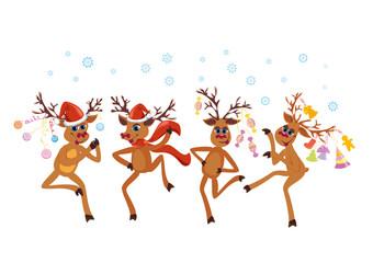 Christmas greeting card whit dancing Reindeers