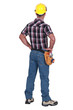 Laborer standing on white background, back-view