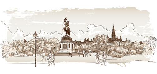 Panorama of Vienna. Vector drawing.