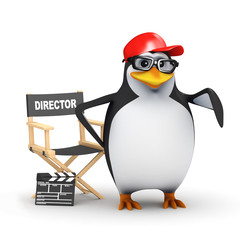 3d Penguin in baseball cap directs a movie
