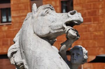 Il cavallo della fontana del Nettuno a Roma