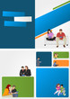 Colorful template for brochure with people with tablets