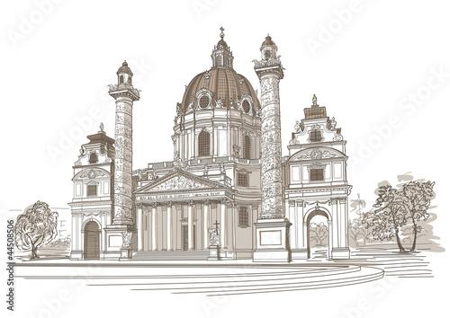 Vector drawing of Karlskirche in Vienna, Austria