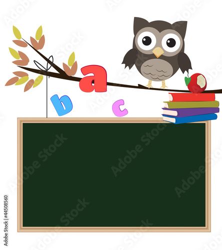 Owl back to school isolated