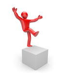 3d small man balancing on one leg