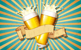 Beer Glass in Retro Background - 44511736