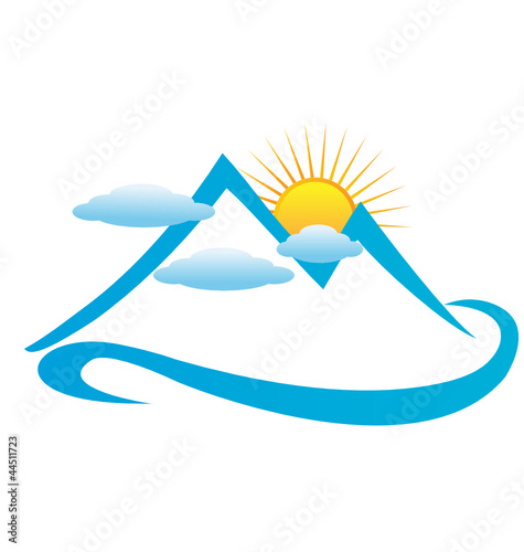 Blue cloudy mountains logo vector