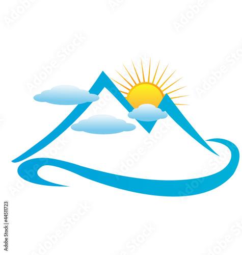 Blue cloudy mountains logo vector