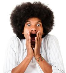 Shocked afro man