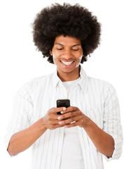 Black man texting on his phone